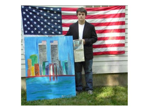 Pomperaug High senior Andrew Bleidner was just 8 years old when he captured a nation's heartache on canvas following the Sept. 11 terrorist attacks.<br /><br />
